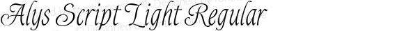 Alys Script Light Regular Macromedia Fontographer 4.1 11.06.2002