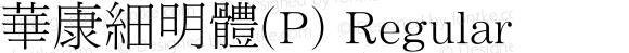 華康細明體(P) Regular Version 3.00