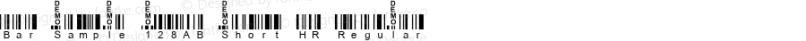 Bar Sample 128AB Short HR Regular Macromedia Fontographer 4.1 2/19/2003