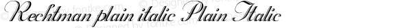 Rechtman plain italic Plain Italic