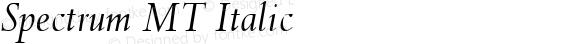 Spectrum MT Italic Oldstyle Figures