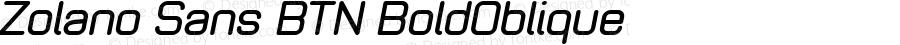 Zolano Sans BTN BoldOblique Version 1.00