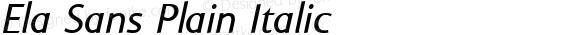 Ela Sans Plain Italic PDF Extract