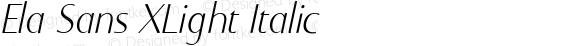 Ela Sans XLight Italic PDF Extract