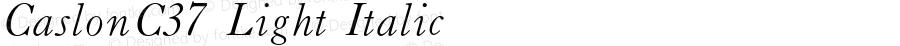 CaslonC37 Light Italic 4.0