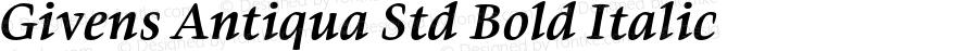 Givens Antiqua Std Bold Italic Version 1.00