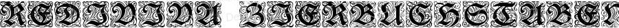 Rediviva Zierbuchstaben Regular Version 1.0; 2002; initial release