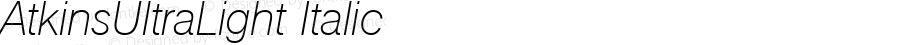 AtkinsUltraLight Italic 1.0 Fri May 14 12:50:10 1999