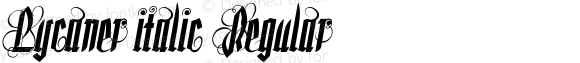 Lycaner italic Regular Version 1.000