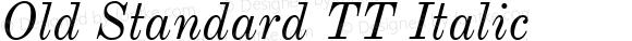 Old Standard TT Italic Version 2.2