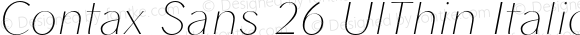 Contax Sans 26 UlThin Italic UlThin Italic