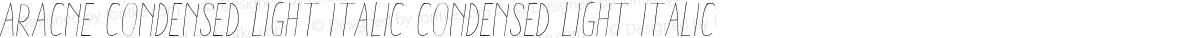 Aracne Condensed Light Italic Condensed Light Italic
