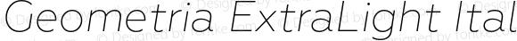 Geometria ExtraLight Italic