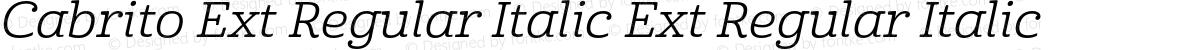 Cabrito Ext Regular Italic Ext Regular Italic