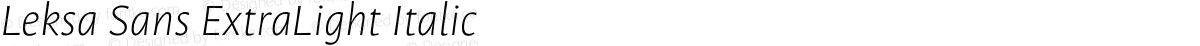 Leksa Sans ExtraLight Italic
