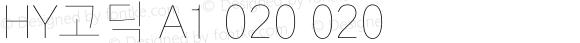 HY고딕 A1 020 020 Version 1.0