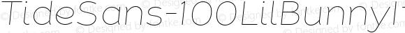 TideSans-100LilBunnyItalic ☞ Version 1.000;PS 005.000;hotconv 1.0.70;makeotf.lib2.5.58329;com.myfonts.easy.kyle-wayne-benson.tide-sans.lil-bunny-italic.wfkit2.version.44Uo