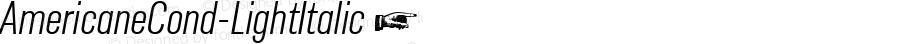 AmericaneCond-LightItalic ☞ Version 1.000;com.myfonts.easy.hvdfonts.americane-condensed.light-italic.wfkit2.version.4mLp