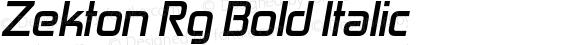 Zekton Rg Bold Italic Version 4.001