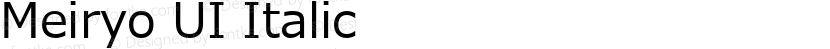 Meiryo UI Italic Preview Image