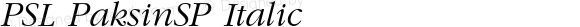 PSL PaksinSP Italic Series 1, Version 3.0, for Win 95/98/ME/2000/NT, release December 2000.