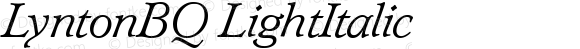 LyntonBQ LightItalic Version 001.000