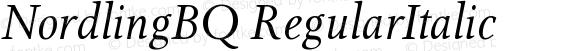 NordlingBQ RegularItalic Version 001.001