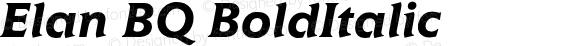 Elan BQ BoldItalic Version 001.000
