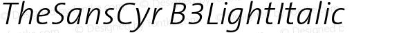 TheSansCyr B3LightItalic Version 001.006