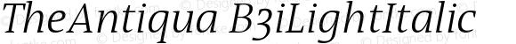 TheAntiqua B3iLightItalic Version 001.000