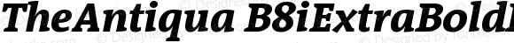 TheAntiqua B8iExtraBoldItalic Version 001.000