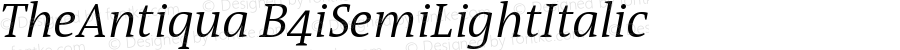 TheAntiqua B4iSemiLightItalic Version 001.000