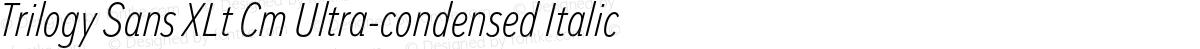 Trilogy Sans XLt Cm Ultra-condensed Italic