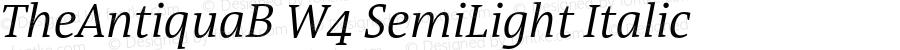 TheAntiquaB W4 SemiLight Italic Version 1.005