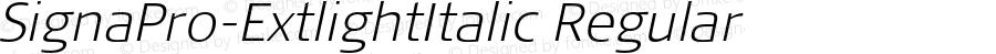 SignaPro-ExtlightItalic Regular Version 7.504; 2011; Build 1022
