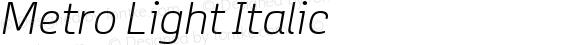 Metro Light Italic
