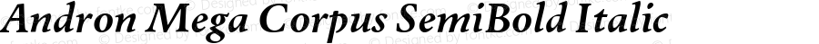 Andron Mega Corpus SemiBold Italic Version 1.001