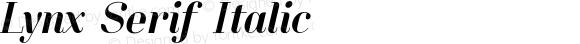 Lynx Serif Italic Version 1.000