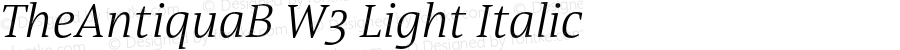 TheAntiquaB W3 Light Italic Version 1.71