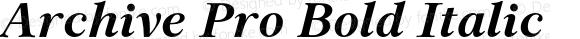 Archive Pro Bold Italic Version 1.000