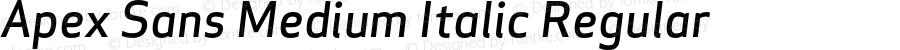 Apex Sans Medium Italic Regular Version 6.000 2007 revised OpenType release