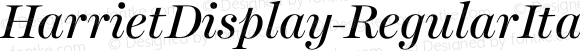 HarrietDisplay-RegularItalic Regular Italic