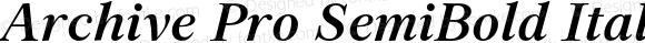 Archive Pro SemiBold Italic