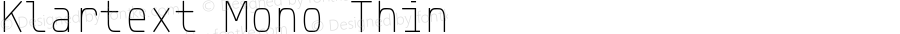 Klartext Mono Thin Version 1.002; Fonts for Free; vk.com/fontsforfree