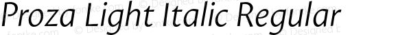 Proza Light Italic Regular Version 1.003