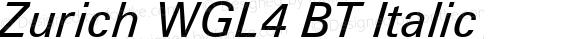 Zurich WGL4 BT Italic Version 2.00 Bitstream WGL4 Set