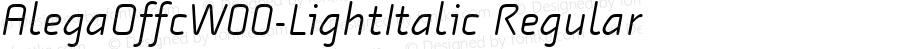 AlegaOffcW00-LightItalic Regular Version 7.504