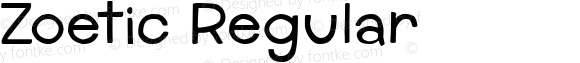 Zoetic Regular Version 1.00 July 8, 2014, initial release, www.yourfonts.com