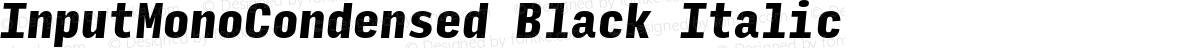 InputMonoCondensed Black Italic