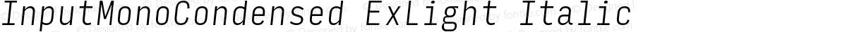 InputMonoCondensed ExLight Italic
